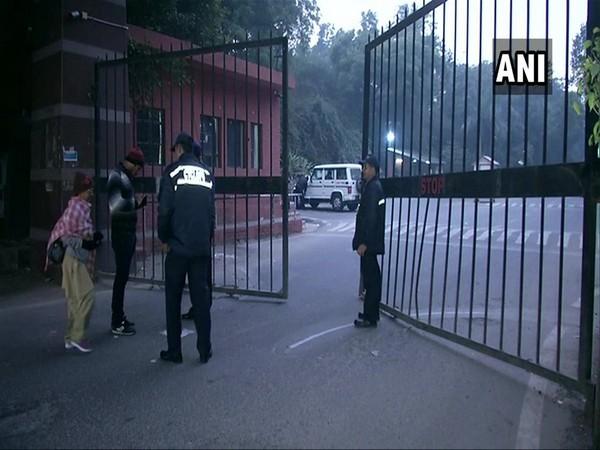 JNU guards mainatined strict vigil montoring movement through gate on Monday