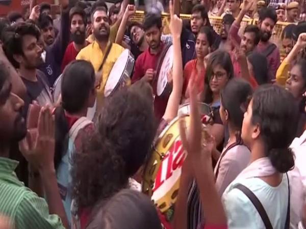 JNU students protest at Vasant Kunj police station in New Delhi on Monday