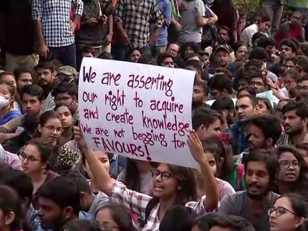 Visuals from JNU protest held on Monday.