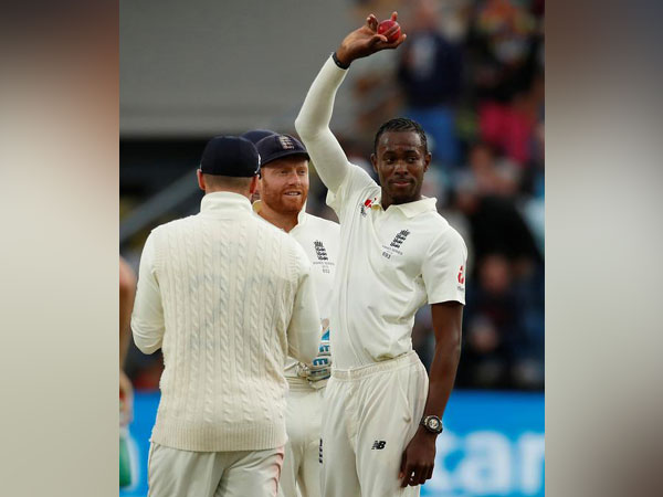 England pacer Jofra Archer posing with ball after taking fifer against Australia.