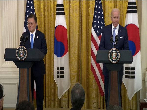 US President Joe Biden and President Moon Jae-in during a joint press conference. (File Photo)