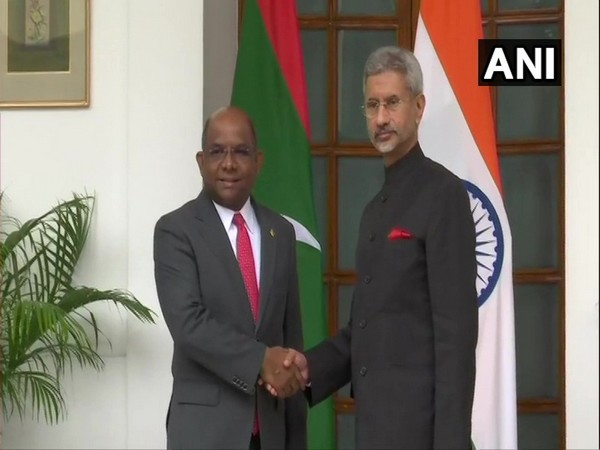 EAM Jaishankar and his Maldivian counterpart Abdulla Shahid at the Join Commission Meeting here on Friday
