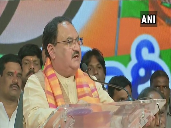 Working president of BJP JP Nadda speaking at an event in Hyderabad on Sunday.
