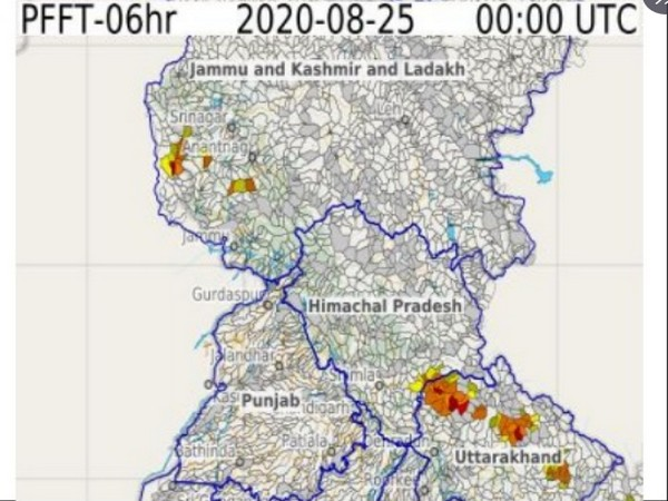 Flash Flood Guidance issued by IMD in J-K and Uttarakhand. [Photo/CWC Twitter]