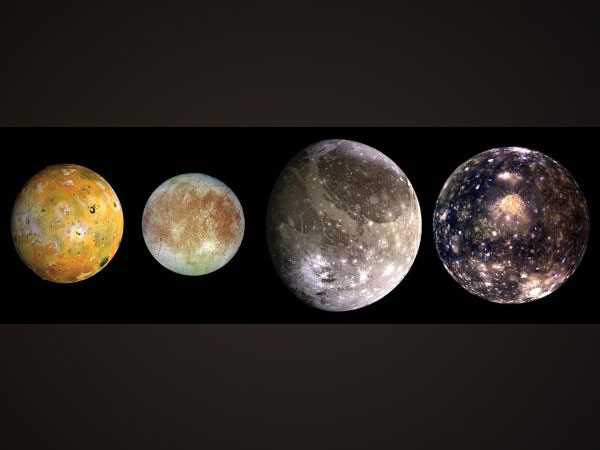 The four largest moons of Jupiter in order of distance from Jupiter: Io, Europa, Ganymede and Callisto (Image courtesy: NASA)