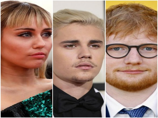 Miley Cyrus, Justin Bieber and Ed Sheeran