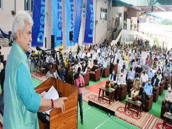 Jammu and Kashmir Lieutenant Governor, Manoj Sinha at the event (Photo/Twitter)