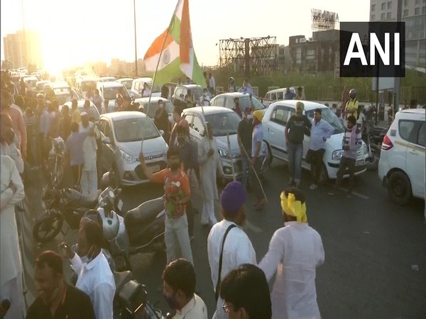 Visual of protest in Rajasthan's Alwar (Photo/ANI)