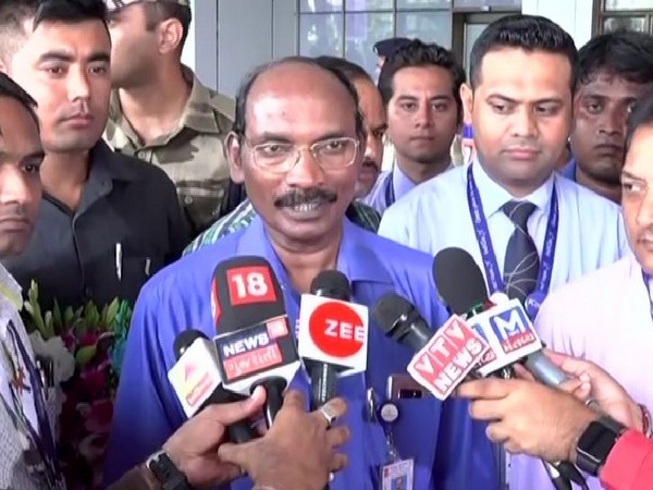 ISRO Chairman K Sivan speaking to media persons on Thursday in Ahmedabad. Photo/ANI