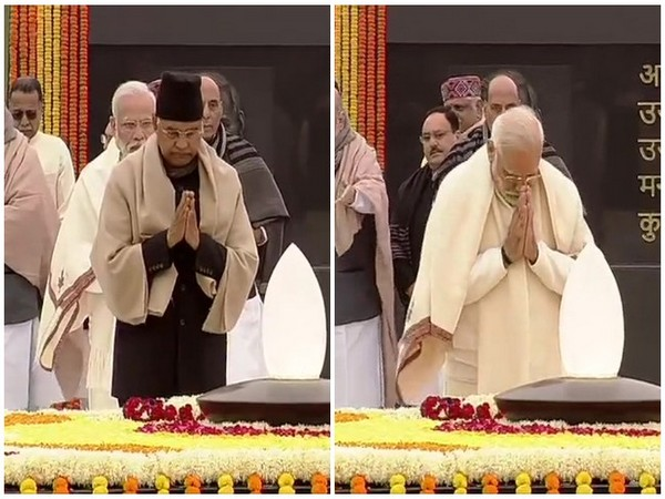 President Ram Nath Kovind and Prime Minister Narendra at the 'Sadaiv Atal' memorial in New Delhi on Wednesday. Photo/ANI