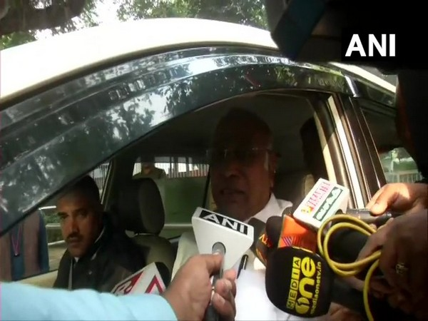 Congress leader Mallikarjun Kharge talking to ANI in New Delhi on Thursday