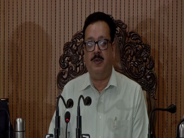Jammu and Kashmir Principal Secretary (Commerce and Industry) NK Chaudhary speaking at a  press conference in Jammu on Tuesday. Photo/ANI