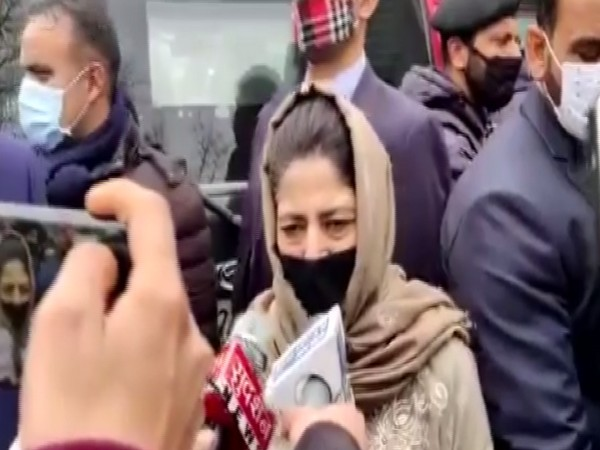 PDP leader Mehbooba Mufti talking to reporters on Saturday.