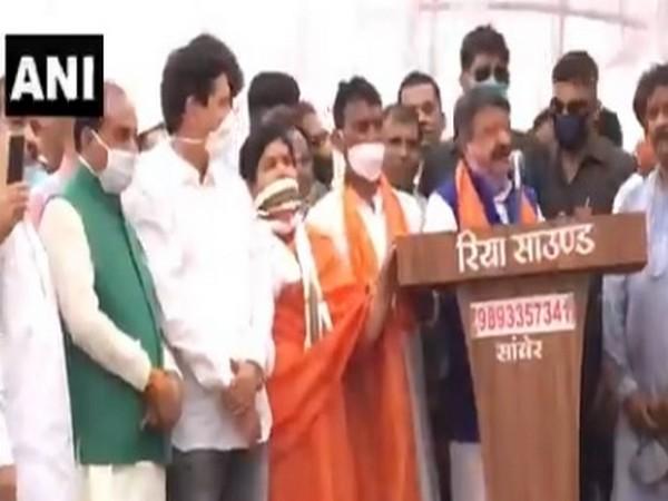 BJP leader Kailash Vijayvargiya speaking at a public gathering on Wednesday.