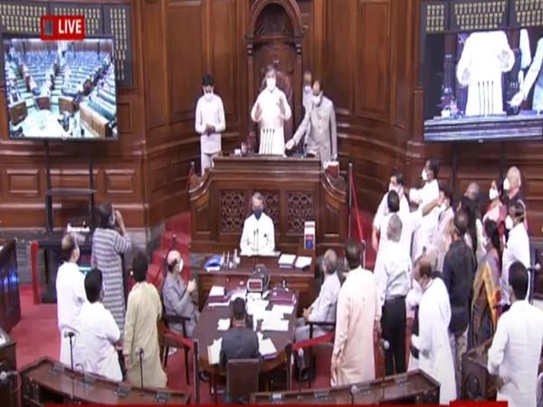 Visuals from Rajya Sabha