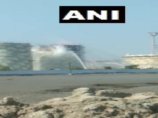 A visual from the spot where fire explosion took place in a chemical tank at a warehouse in Kandla, Gujarat on Monday.