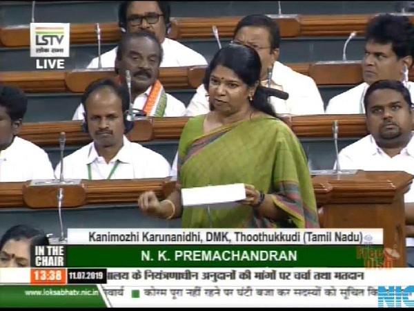 DMK MP Kanimozhi speaking in Lok Sabha on Thursday. (Pic Courtesy Lok Sabha TV)