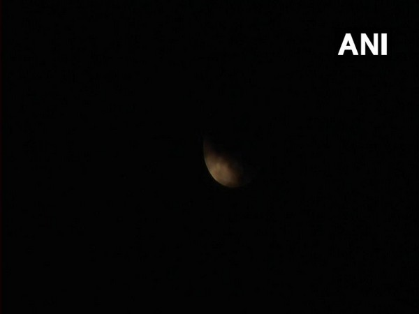 Partial Lunar Eclipse, as seen in the cloudy skies of Kanpur at 3 am when it was at its peak.