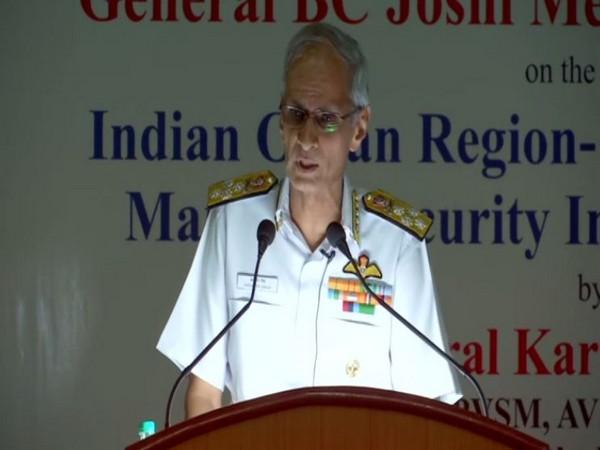 Navy chief Admiral Karambir Singh speaking in Pune, Maharashtra, on Monday. Photo/ANI