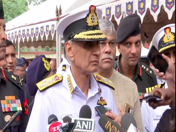 Navy Chief Admiral Karambir Singh speaking to reporters in Pune, Maharashtra on Monday