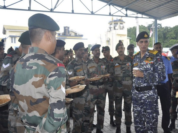 Navy chief Admiral Karambir Singh interacting with security personnel at Campbell Bay on Friday.
