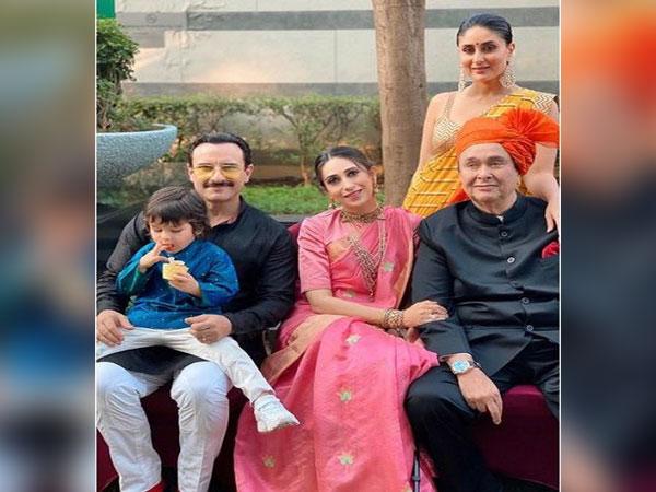 Saif Ali Khan Pataudi, Taimur Ali Khan Pataudi, Karisma Kapoor, Kareena Kapoor Khan, Randhir Kapoor (Image Source: Instagram)