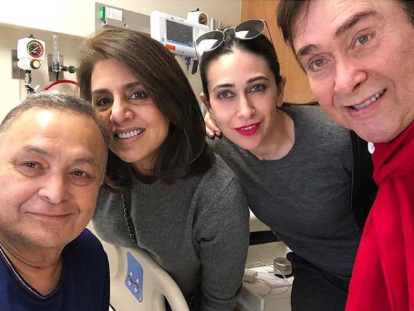 Rishi Kapoor, Neetu Kapoor, Karisma Kapoor and Randhir Kapoor, Image courtesy: Instagram