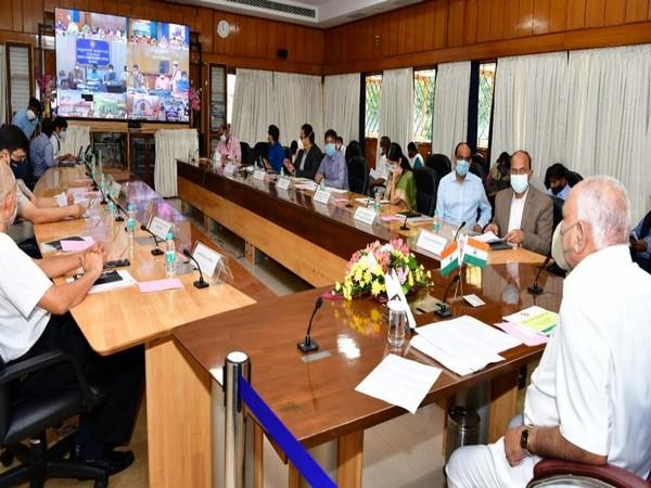 Karnataka Chief Minister BS Yediyurappa at the review meeting on Friday. [Photo/Twitter]