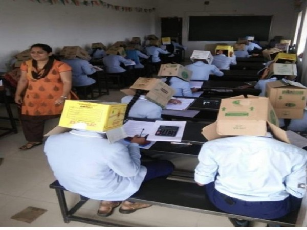Students at Bhagat Pre-University College in Haveri, Karnataka were made to wear cardboard boxes.