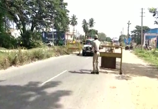 Visual when Convoy of Karnataka Home Minister Basavaraj Bommai crossed a police checkpoint in Mandya on Wednesday.