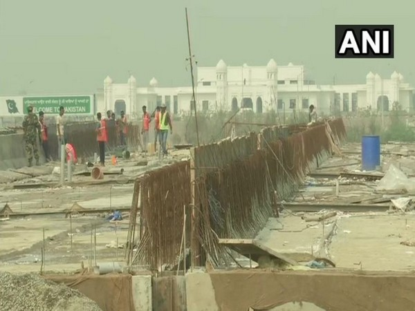 The visuals of the Kartarpur Corridor work under progress on Wednesday in Punjab. Photo/ANI