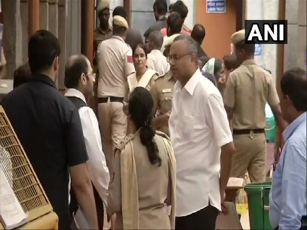 Karti Chidambaram arriving at Tihar jail to meet his father P Chidambaram in New Delhi on Monday.