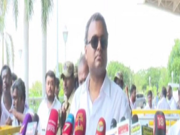 Congress MP Karti Chidambaram while speaking to media persons in Madurai, Tamil nadu on Wednesday. Photo/ANI