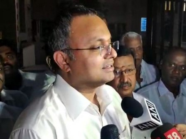 Congress MP Karti Chidambaram speaking to media persons in New Delhi on Thursday. Photo/ANI