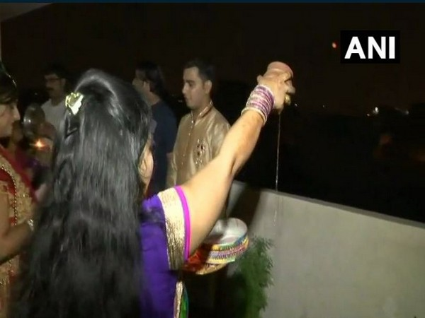 A woman following karwa chauth rituals. (File photo)