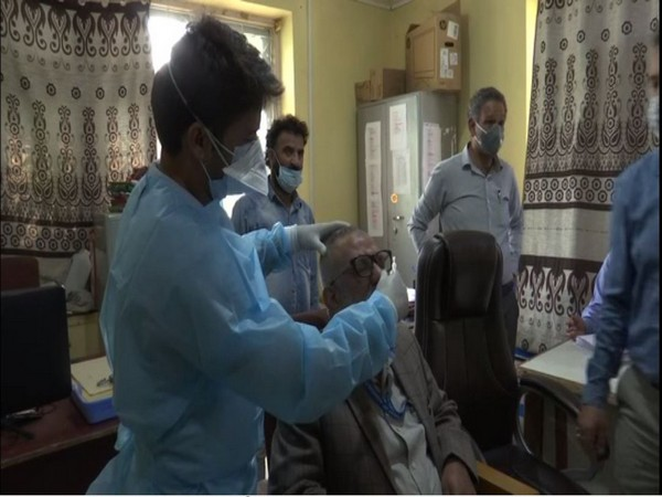 Employees of Department of Agriculture getting tested for COVID-19 in Jammu and Kashmir (Photo/ANI)