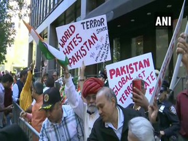 Indians supporting Prime Minister Narendra Modi in New York on Friday.