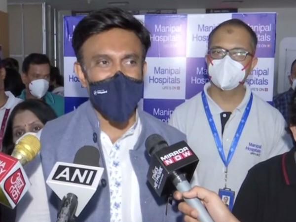 K Sudhakar, Karnataka Health Minister, talking to media