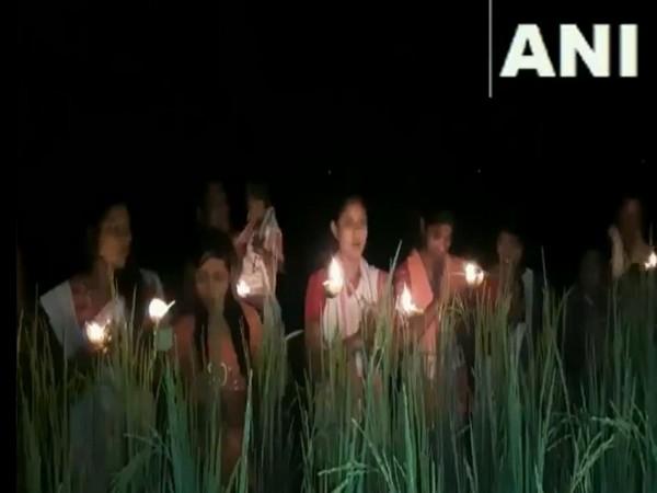 People gathered to celebrate Kati Bihu in Bongaigaon, Assam yesterday. (Photo/ANI)