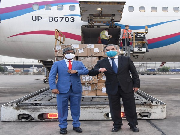 India welcomed 5.6 million masks/respirators that arrived from Kazakhstan on Friday as part of COVID assistance.