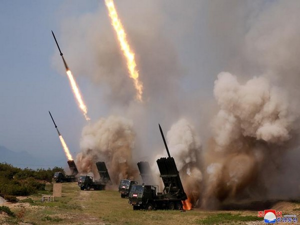 The projectiles being launched in Wonsan, North Korea (Photo/ Reuters)