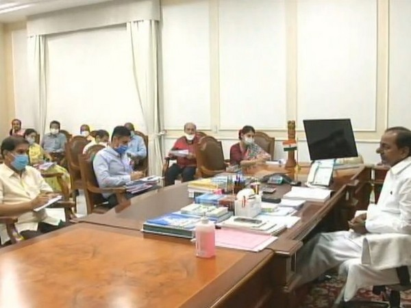 Telangana Chief Minister K Chandrashekhar Rao in a meeting on Monday.