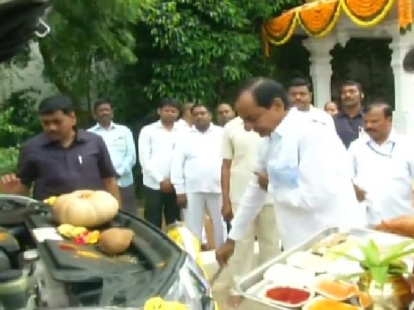 Telangana Chief Minister K Chandrashekhar Rao performing Vehicle Puja on Tuesday.