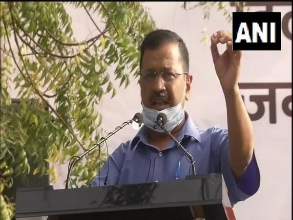 Delhi Chief Minister Arvind Kejriwal at the protetst against Centre at Jantar Mantar in Delhi.