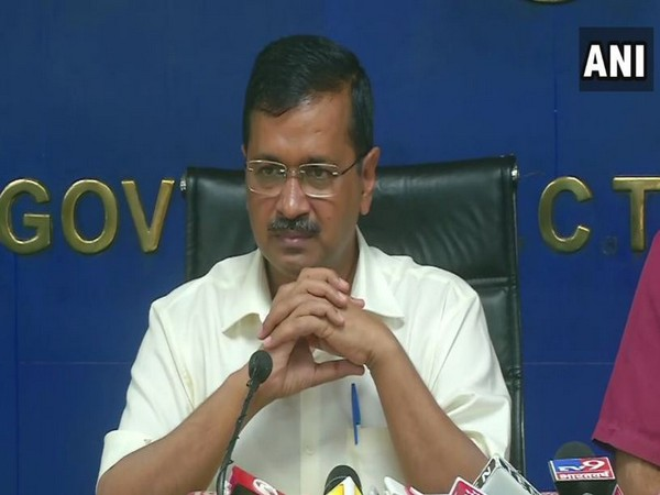 Delhi Chief Minister Arvind Kejriwal speaking to media persons on Monday in Delhi. Photo/ANI