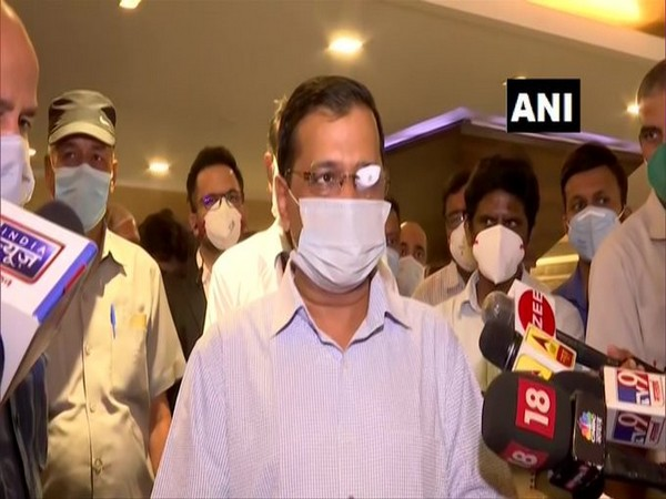 Chief Minister Arvind Kejriwal speaking to reporters in Delhi on Wednesday.