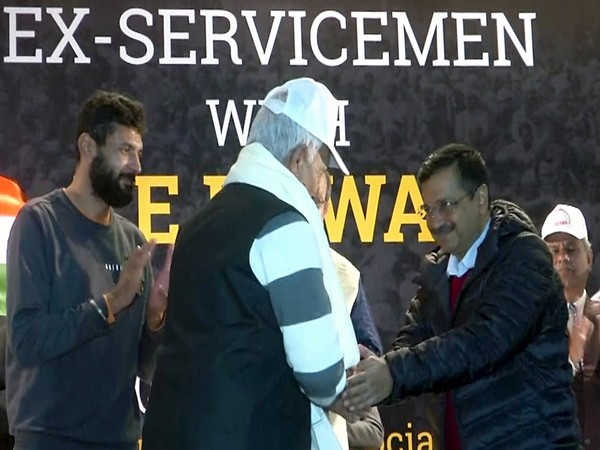 Delhi Chief Minister Arvind Kejriwal on Sunday felicitated family members of ex-servicemen in the national capital.