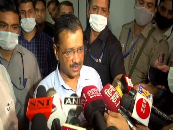 Delhi Cheif Minister Arvind Kejiwal addressing media on Monday.