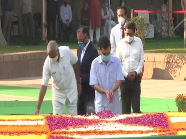 Delhi Chief Minister Arvind Kejriwal at Rajghat on Friday. (Photo/ANI)