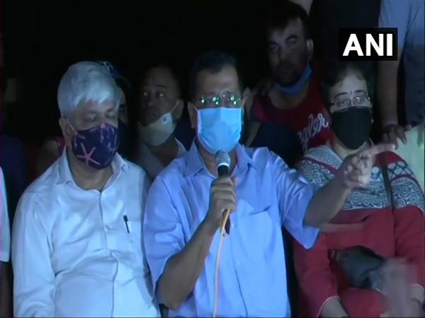 Delhi Chief Minister Arvind Kejriwal at Janatar Mantar protest over Hathras incident on Friday. (Photo/ANI)